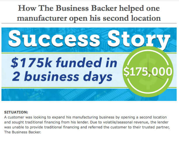 May 2016 Newsletter -How The Business Backer helped one manufacturer open his second location