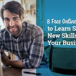 Man leaning over laptop with blog header 8 Free Online Resources to Learn Specific New Skills for Your Business
